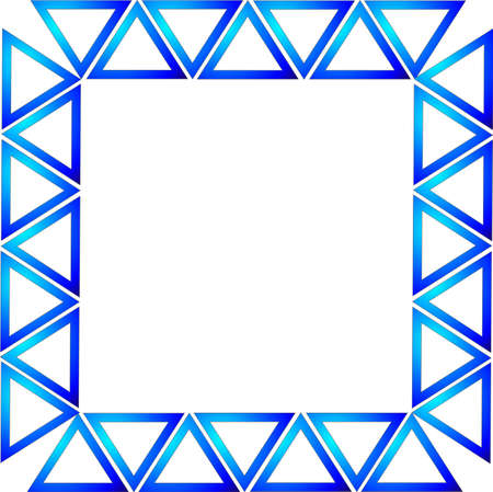 Blue gradient triangles formed into a rectangle to make  a frame or border background, over white. Vector
