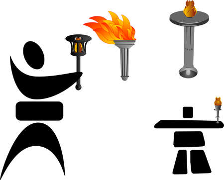torches: Different torches and two character silhouettes