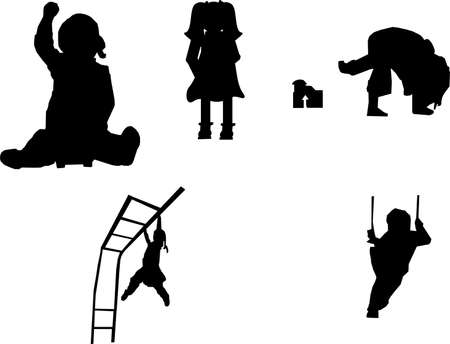 children silhouettes playing in play ground having fun..