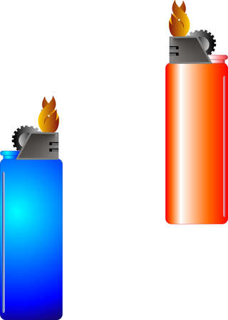 Blue and red, disposable lighters that are lit, with flame burning brightly