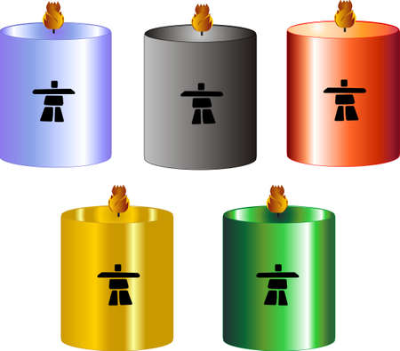 burning: Olympic coloured candles with flames burning brightly.. Illustration