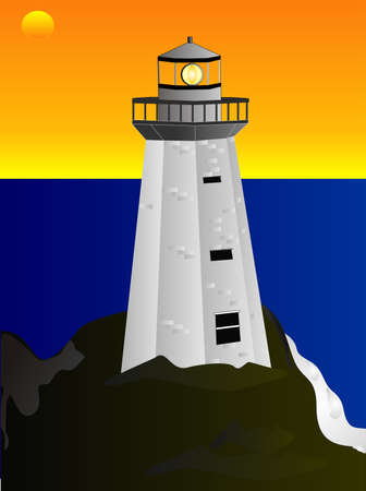 nautical structure: Lighthouse illustration providing a beacon of light for sea travelers.... Illustration