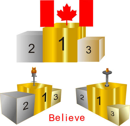 right angled: Podiums, for first, second and third place.. in gold, silver and bronze.. All winners to have competed..