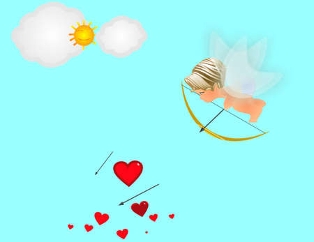 Eros, trying to get the arrows to hit the hearts and he will spread love throughout the world.. Vector