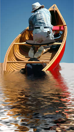 Man is sinking in canoe and has a sense of helplessness, conceptual in perception. Vettoriali