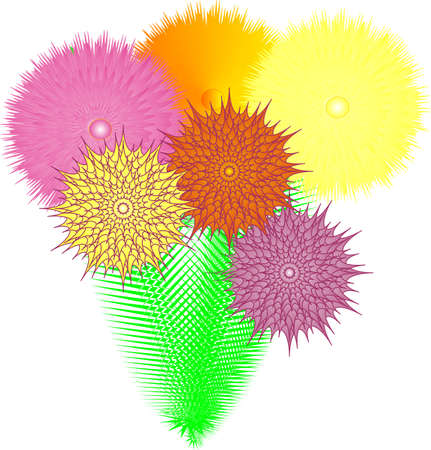 bunched: Flowers bunched together in a exotic bouquet. Illustration