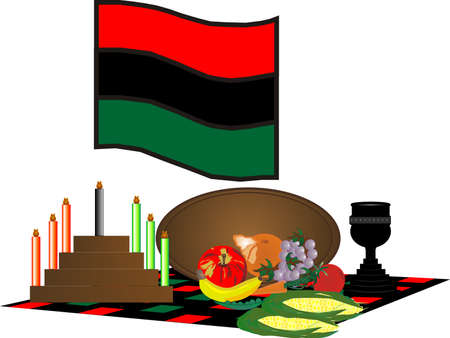 items used to celebrate Kwanzaa, from December 26 - January 1 Vector