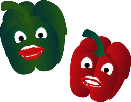 Two sweet peppers one red and one green,  smiling . Vector