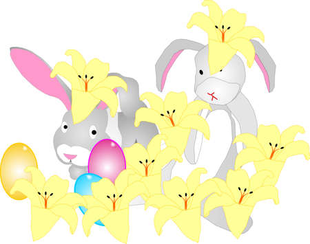 Two rabbits hiding amongst easter lilies and eggs Vector