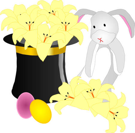Bunny sitting beside a top hat with Easter lilies all around Vector