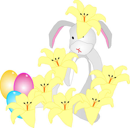 Easter rabbit hiding in a pretty lily patch Vector
