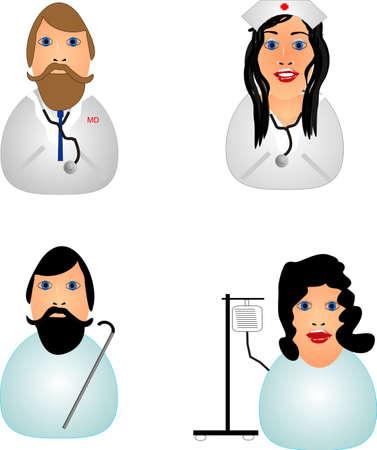 医師、看護師、男性と女性患者のアイコン.