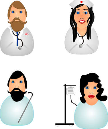 Icons of a Doctor, Nurse, male and female patient.. Vector