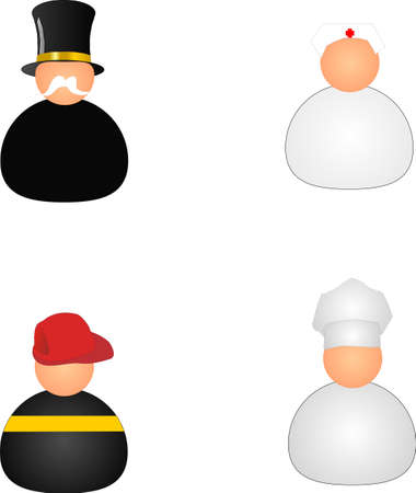 different jobs: 4 icon wobblers from different jobs Illustration
