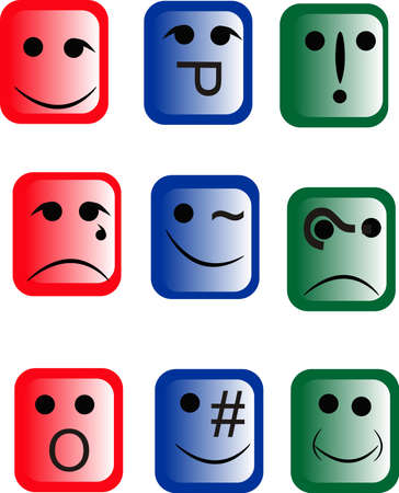 Emoticons with different faces of confusion and more.. Vector
