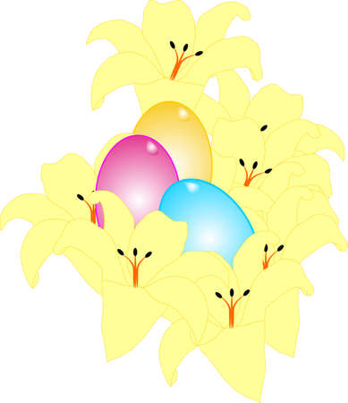 Bouquet of Yellow Lilies and some colored eggs around them.. Vector