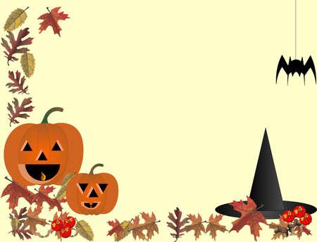 halloween spider: Happy Halloween with jack o lanterns and spider..