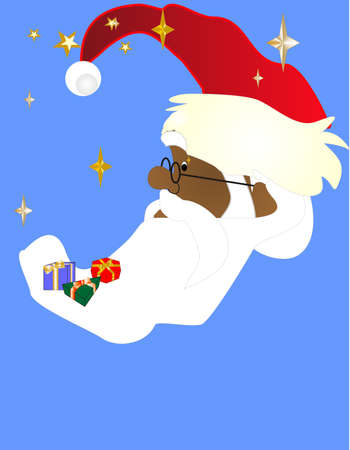 pere noel: Black Santa shining in the sky at night, watching all the good children with delight, for the next Christmas... Illustration