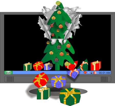 breaks: Protector de pantalla de un �rbol de Navidad y presenta roturas de pantalla y donativos est�n disminuyendo, en la realidad virtual para el ahorrador de la pantalla ..