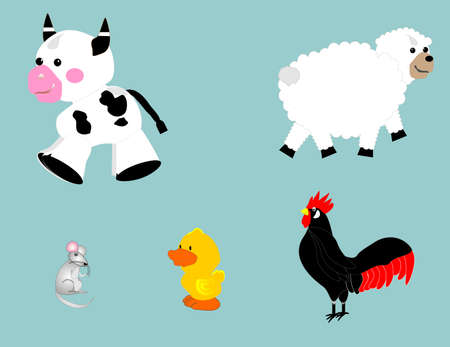 group of farm animals; can be used in different variations.. Vector