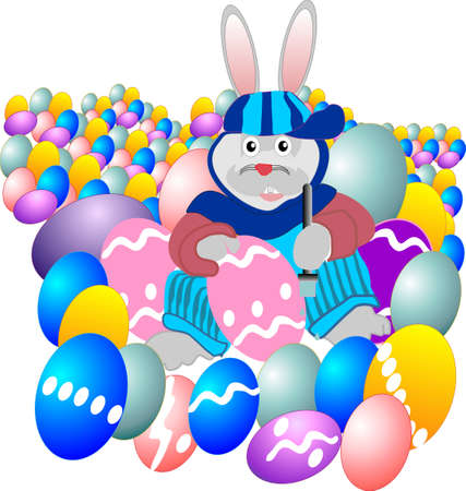 Funky Easter bunny, is painting the eggs for the kids egg hunt. Stock Vector - 4363080