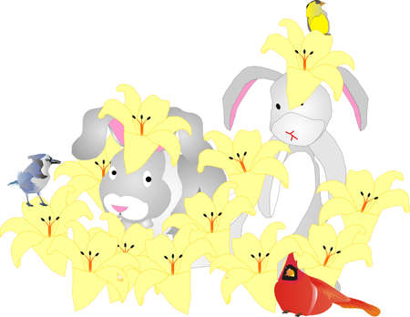 first days of spring.. the bunnies are playing in a patch of lilies, and birds are amongst them.. Vector