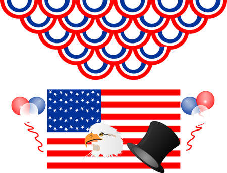 Let the holiday celebrations begin, a new beginning with the USA flag, bald eagle and ballons Vector
