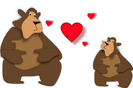 two cute bears in a beary love situation... hearts galore... Vector
