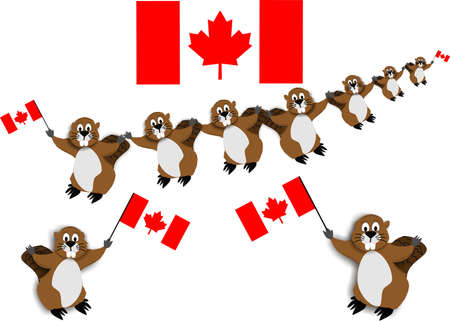 Canadian Beaver Dance with the national emblem, the beaver, carrying flags.. Ilustrace