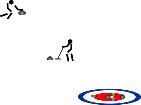Pictogram of curler, sweeper, and ring Vector