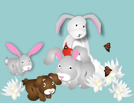 awaiting: Los conejos, un cardenal y mariposas monarca juntos, lugar rodeado de flores, a la espera de la Pascua y la primavera o .. Vectores