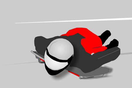 racing sign: Person on skeleton sled, racing down hill at high speeds.. Illustration