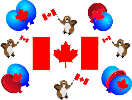 beavers: Celebrating Candian holidays, with the flag, national emblem and having fun Illustration
