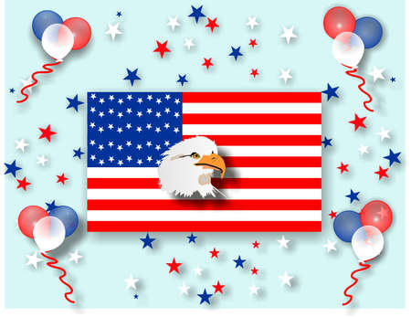Let the celebrations begin, holidays celebrated in the US with balloons and star confetti Vector