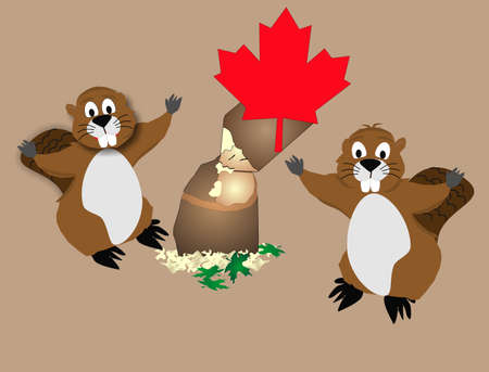 Two Canadian Beavers being lumber jacks in the woods, Proud as can be.. Illustration