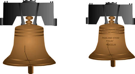 Liberty bell cracked first time rung in 1752, then recast in 1753 and cracked again in 1835, made mostly of copper.. hangs in view on its yolk..in Independence National Park.. 일러스트