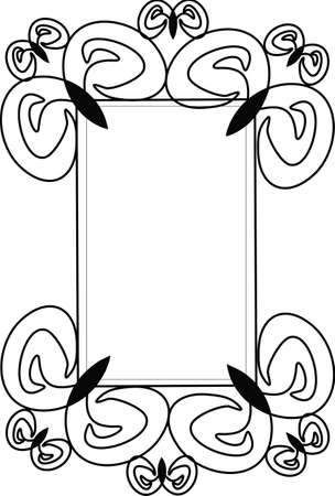 curls: Rectangular frame with curls and swirls
