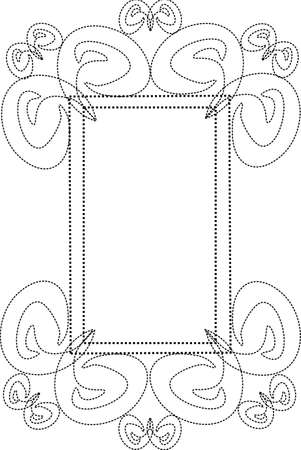 curls: Rectangular dotted frame with curls and swirls