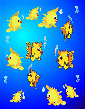 Exotic fish swimming around with air bubbles and a few seahorse, in a seamleass repeat background Vector