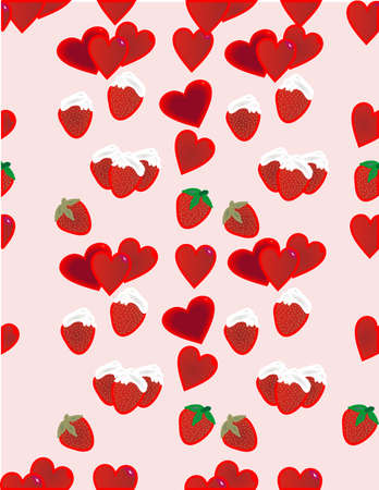 Strawberries with whipped cream and hearts seamless Repeat Pattern Vector Illustration Background Vector
