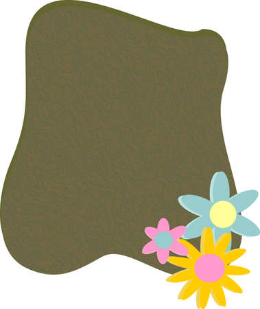 paper background: Irregular shaped paper, with colored flowers at lower edge