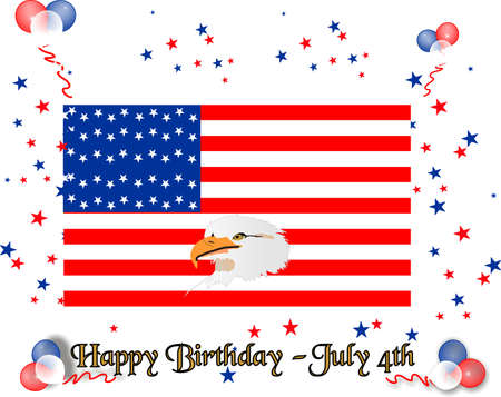 Happy Birthday United States of America with a bald eagle, balloons, and colored stars celebrating the occasion Stock Vector - 4397763