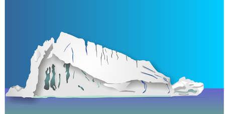 Een illustratie van een ijsberg drifting vanuit het noorden, wat is gezien bovenstaande is klein wat verborgen is onder ...