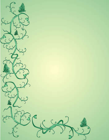 Butterflies and vines on an ornate green background..Victorian in colour and design.. Vector