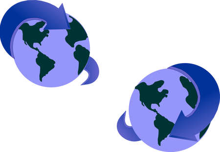 Arrows encompassing the earth in a directional fashion, squeezing. Vector