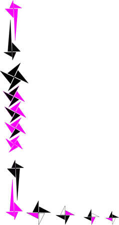 L shaped border made of pinwheels, in pink, black and white