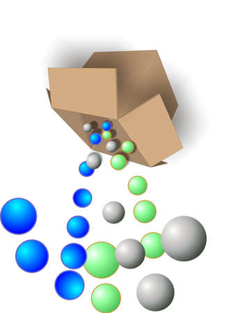Box with colored, balls being dumped out of it, into open air... Stock Vector - 4449859