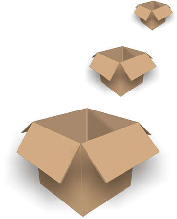 Group of 3 dimensional boxes for moving storing or shipping items.. Illustration