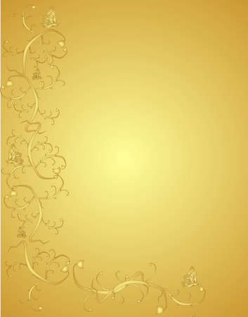 Vines  and butterflies on an ornate golden background..Victorian in colour and design.. Stock Vector - 4449863