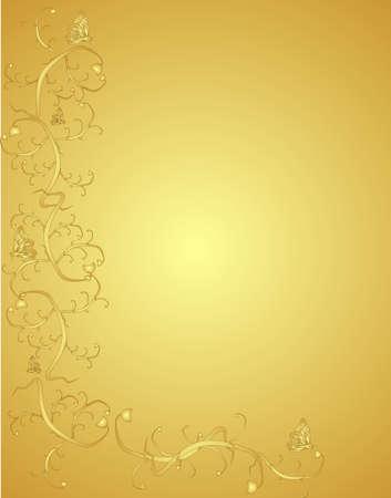beige stof: Wijn stokken en butterflies op een Sierlijke golden achtergrondVictorian in de kleur en het ontwerp